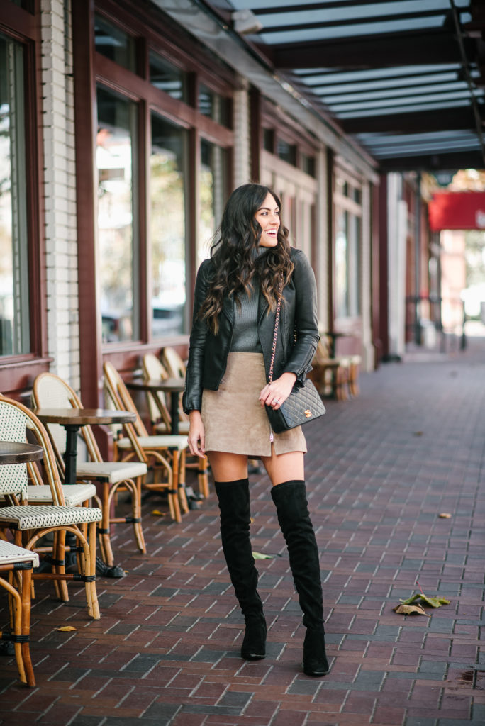 Style The Girl Suede Skirt with Over the knee boots and black leather jacket