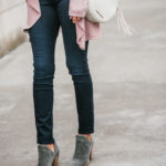 Style The Girl Pink Cardigan, Jeans and Booties Fall Look