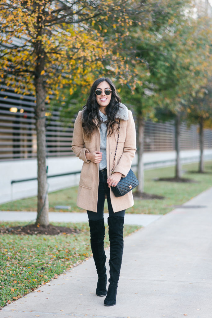 Style The Girl Winter Style With Over the knee boots, faux fur linked jacket