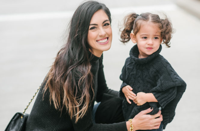 Style The Girl Black Sweater and Over The Knee Mommy and Me Winter Look