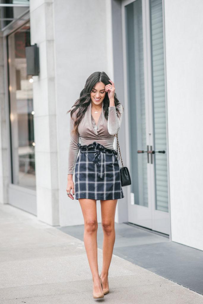 Style The Girl Plaid Pleated Skirt and Velvet Bodysuit