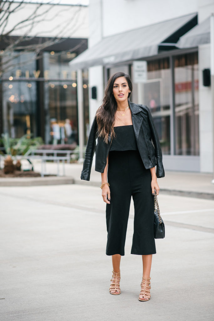 Style The Girl Black Jumpsuit with Moto Jacket