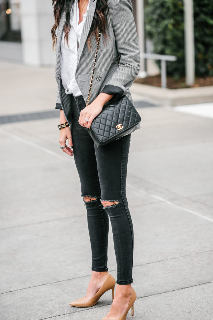 Style The Girl Checkered Blazer Look