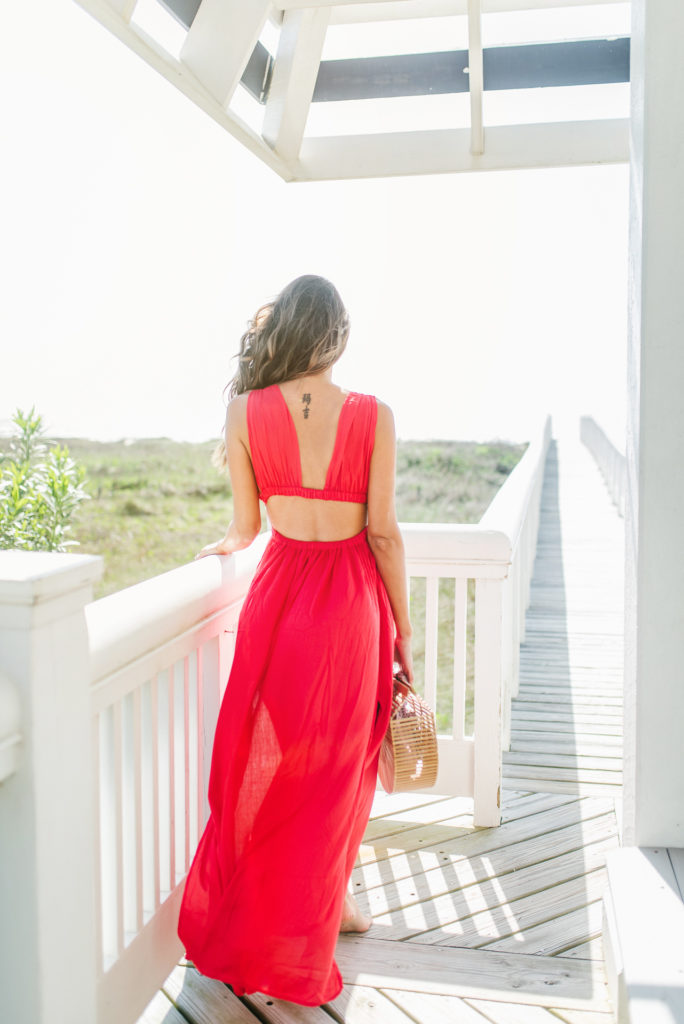 Style The Girl Red Grecian Maxi Dress on the beach