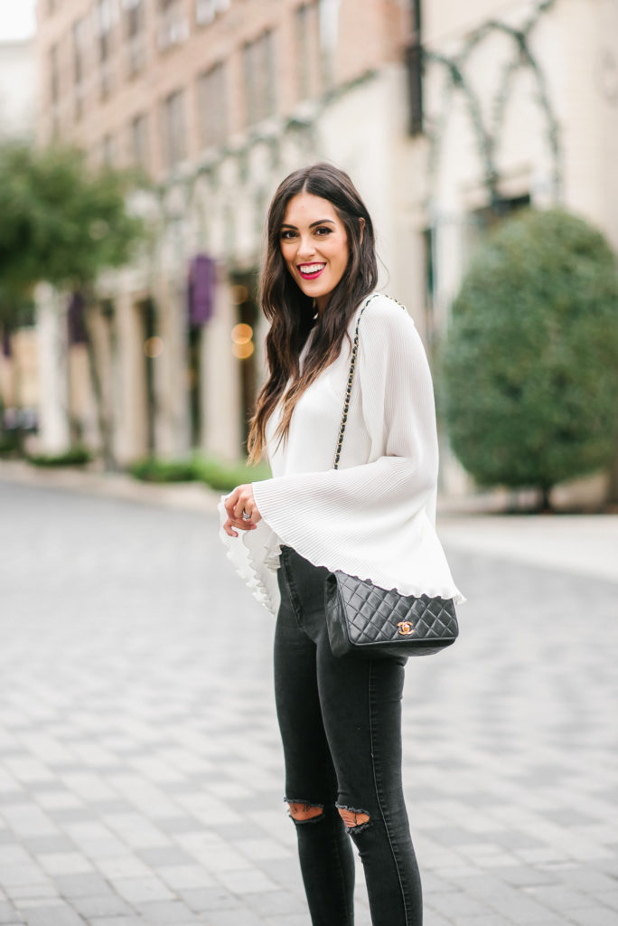 Style The Girl White Pleated Bell Sleeve Top with Black Jeans and Nude Heels