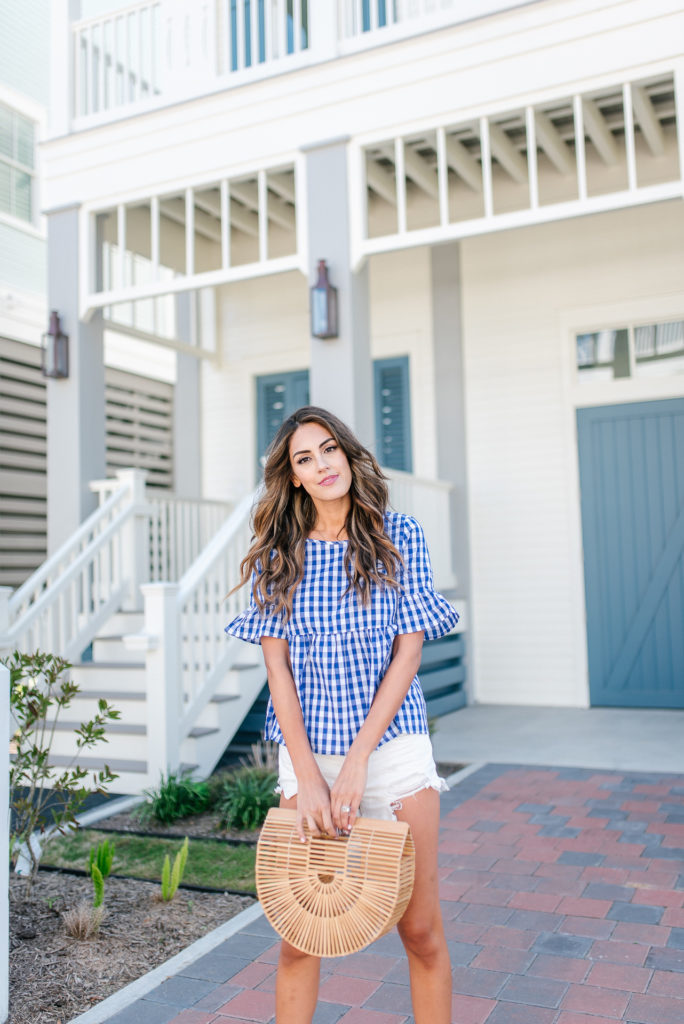 Style The Girl Gingham Top with White Denim Shorts, and espadrille wedges for spring