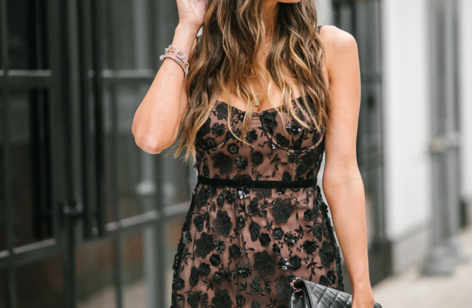 black sequin for love and lemons dress black moto jacket black chanel crossbody