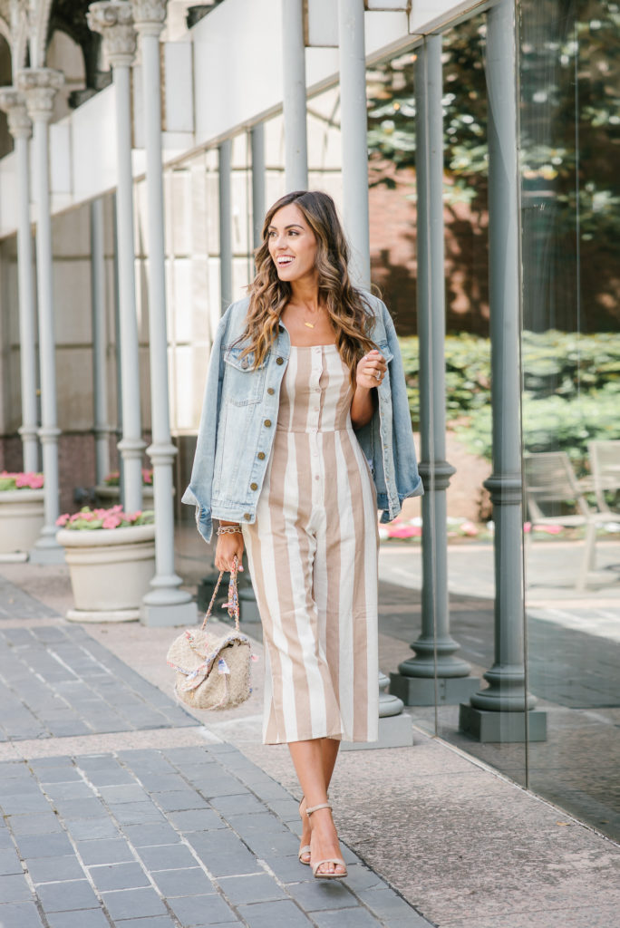 forever 21 tan and white striped jumpsuit with jean jacket chanel bag tan scrappy heels