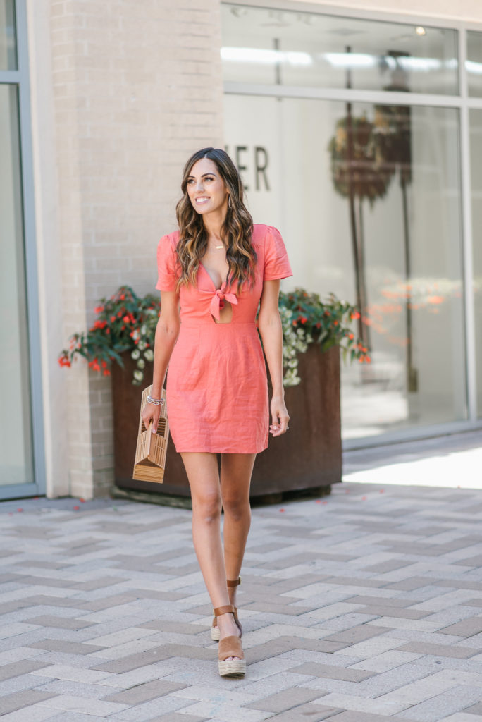 Style The Girl Orange Tie Front Dress