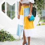 asos colorblock midi skirt asos white crop top baby blue sandals chanel cross body
