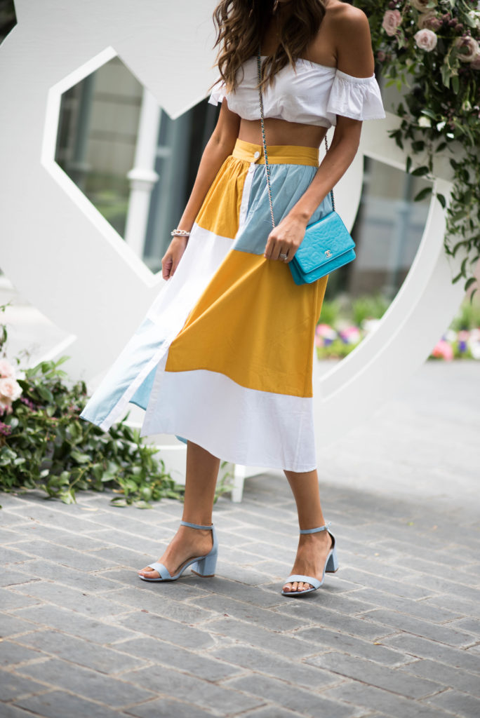 asos colorblock midi skirt top baby blue sandals chanel cross body
