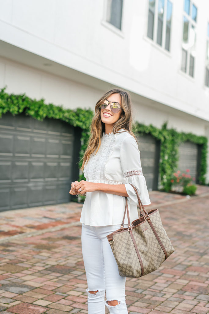 Style The Girl All White with Pops of Pink Spring Look