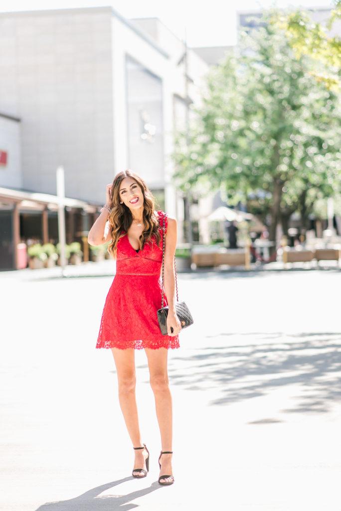 Toni Red Crochet Mini Dress Chancel Crossbody