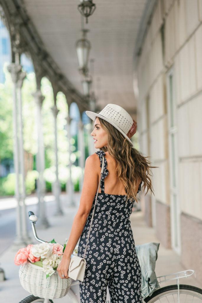 Blue Life Gypset Floral Jumpsuit White Fedora Hat YSL cross body and denim jacket