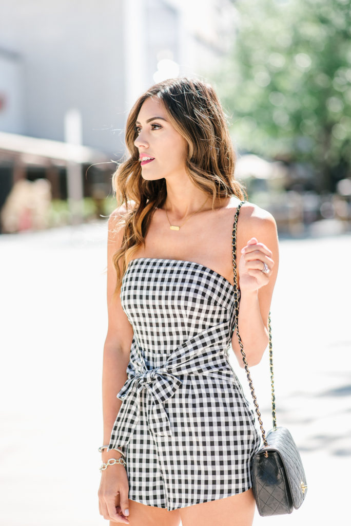 Toni Black and White Gingham Romper with Front Knot