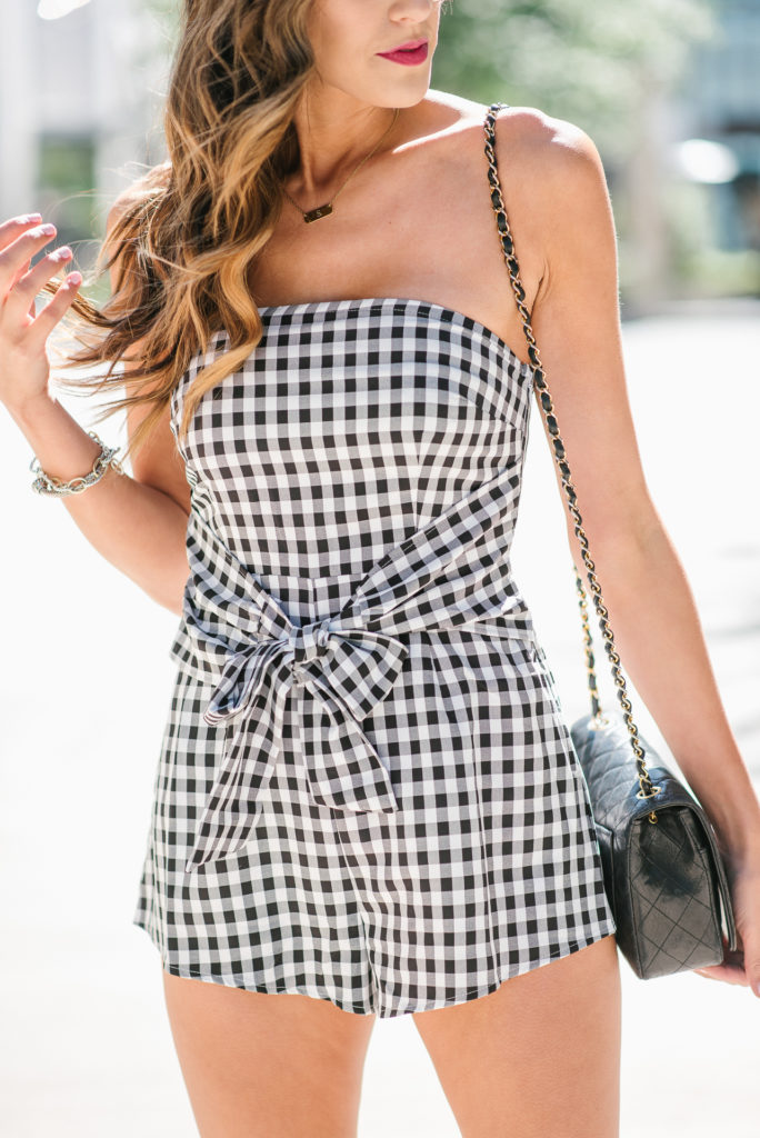 Toni Black and White Gingham Romper with Front Knot Chanel Crossbody