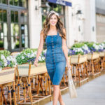 Denim Button Down Midi Dress Floral Bandana straw bag spring style