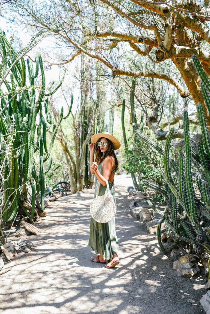 Asos Green Button Down Maxi Dress in a Botanical Garden Straw Hat