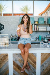 forever 21 Blush pink bodysuit madewell floral bandana agolde shorts in a ice cream shop