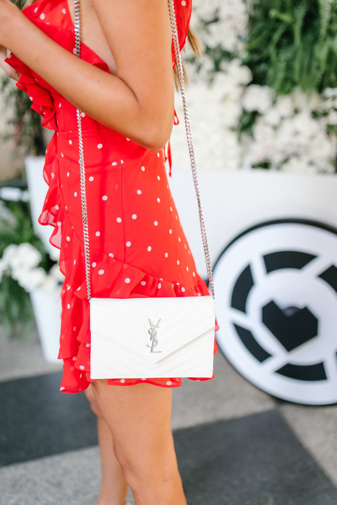 For Love and Lemons Analisa Polka Dot Tank Ruffle Dress at the reward style conference white YSL cross body