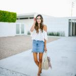 White Off Shoulder Top Denim Skirt
