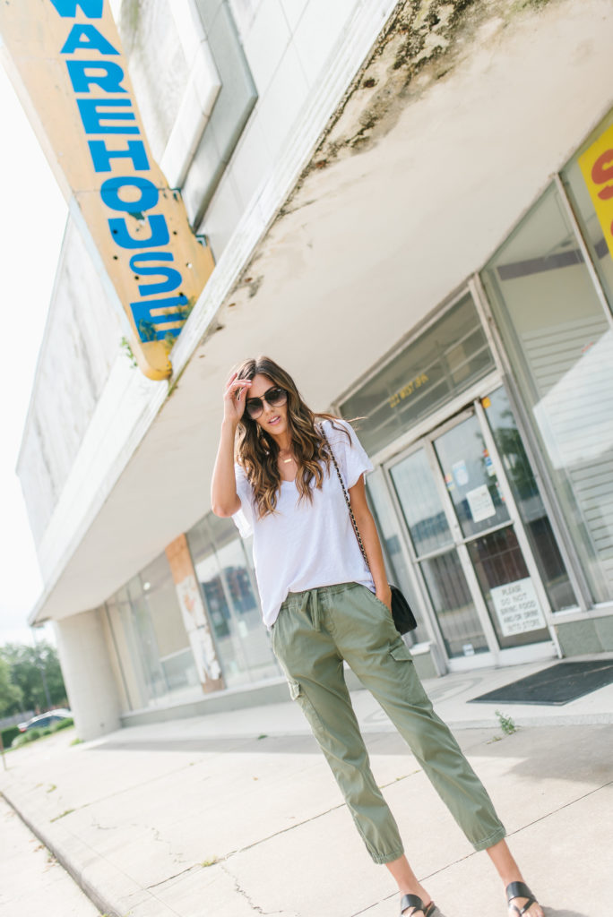 Cut Out Shoulder White Tee Evereve Green Camo Pants for travel style
