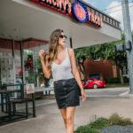 Crop Top Sweater High waisted black denim skirt chanel bag adidas sneakers