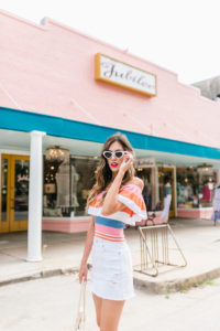 Striped Pastel Off the shoulder top white denim ripped skirt