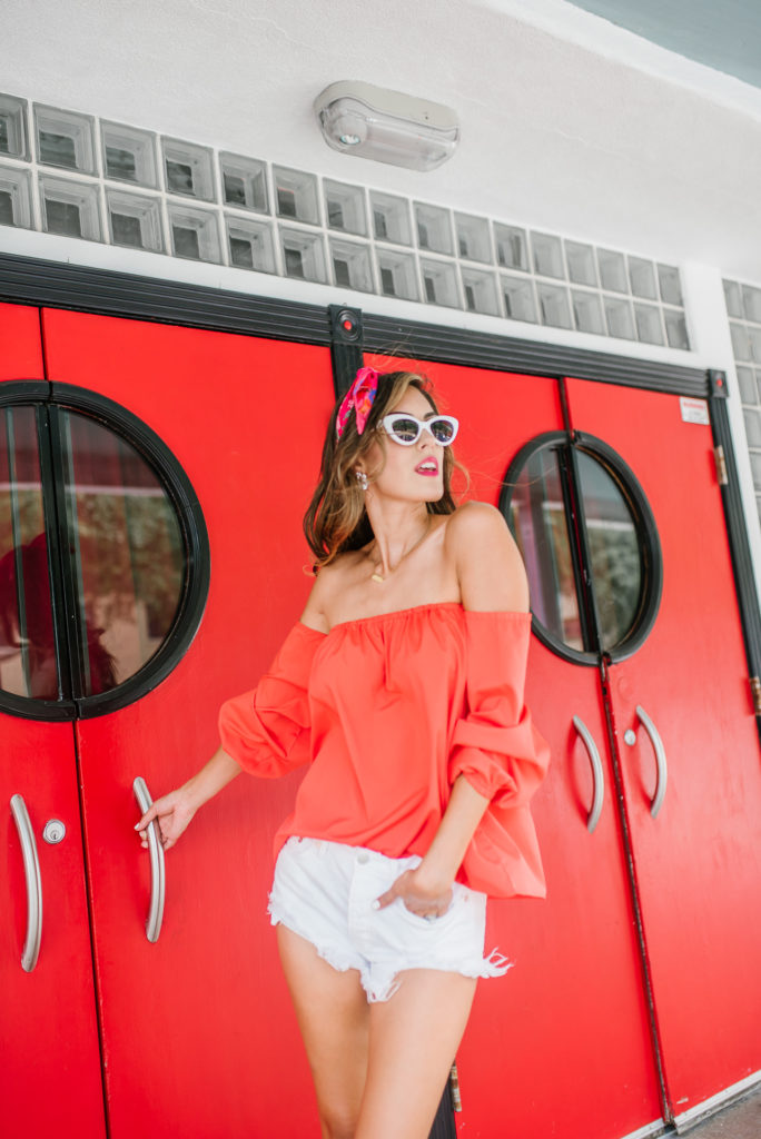 Red and White summer outfit look