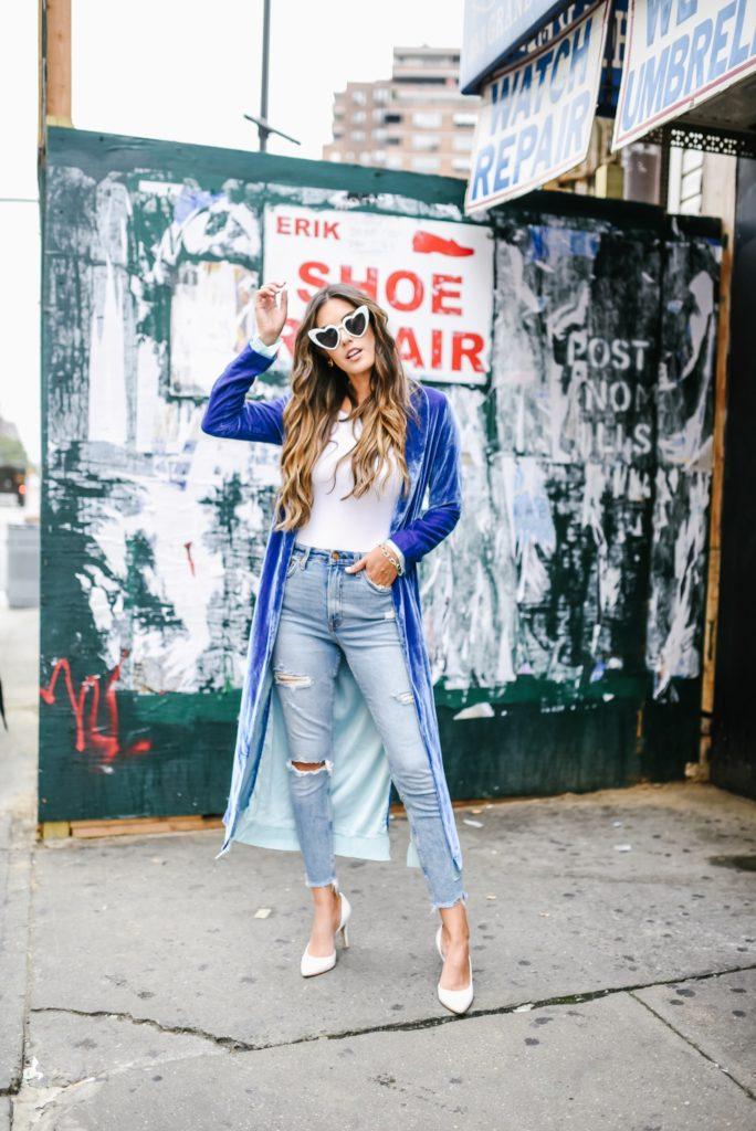 For Love And Lemons Blue Velvet Coat with High Waisted Jeans