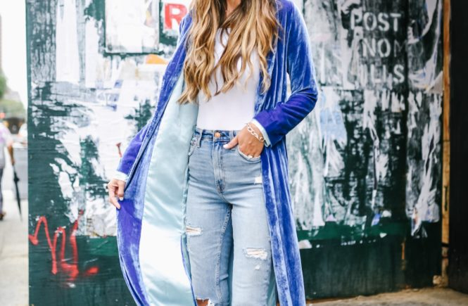 For Love And Lemons Blue Velvet Coat with High Waisted Jeans