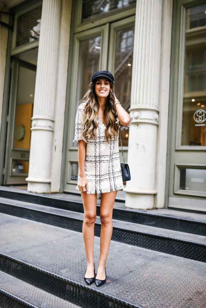 Revolve X House of Harlow Tweed Dress at NYFW