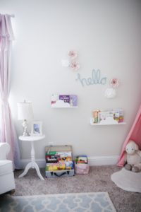 Toddler Girl Pink and Mint Floral Bedroom