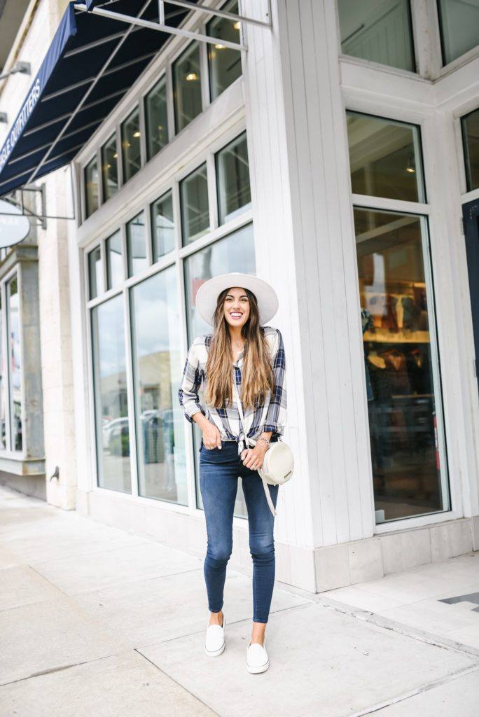Flannel button down hudson dark washed jeans and white slip on sneakers