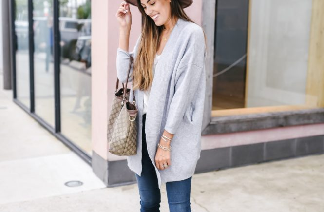 Goodnight Macaroon Grey Cardigan, dark wash skinny jeans, felt hat, fall fashion