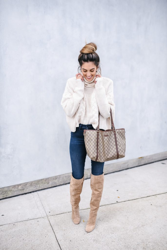 Goodnight Macaroon Braided Knit Cropped Turtleneck Sweater Fall Style