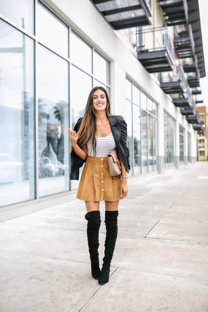 Chicwish Suede Pleated Skirt Fall Look