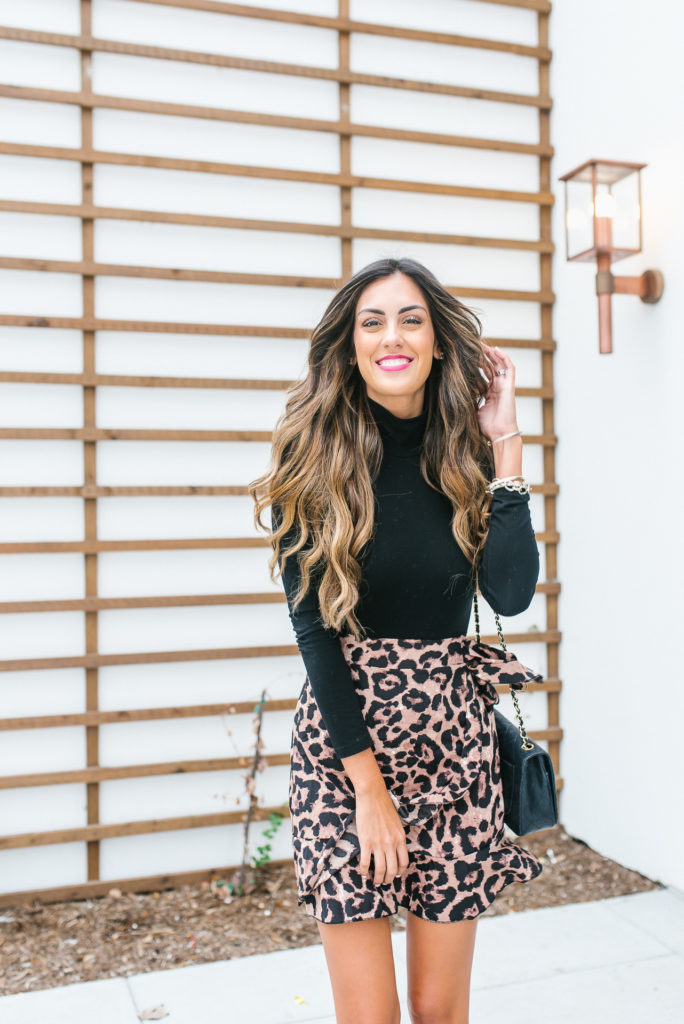 Leopard Mini Wrap Skirt with Black Turtleneck