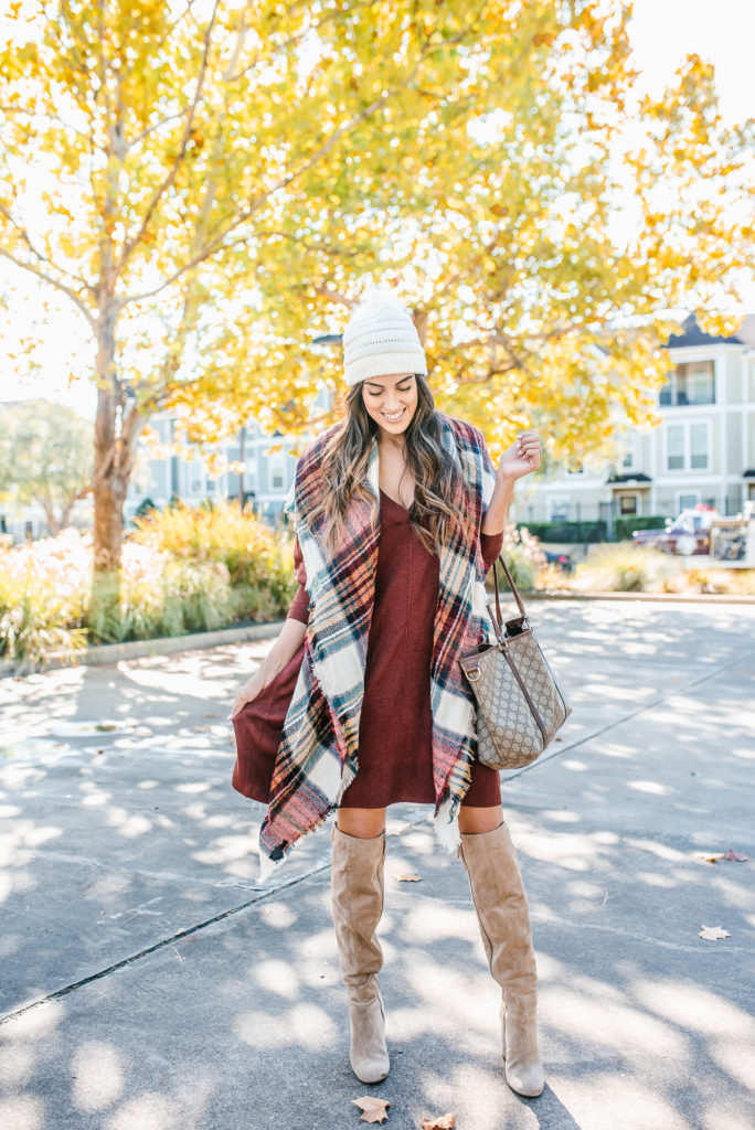 burgundy swing dress with stage stores and thredup