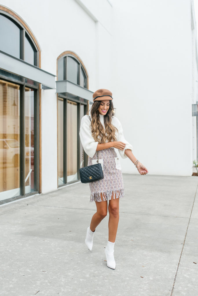 Fringe Mini Skirt with White Booties