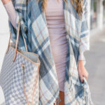 Blush Flannel Vest with Lush Bodycon Dress and over the knee boots