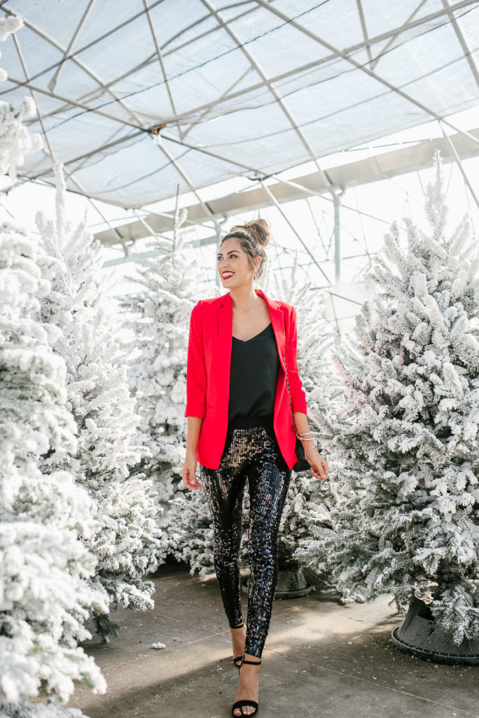 Express High waisted velvet sequin pants and red blazer holiday look