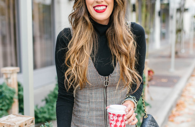 how to style a plaid mini dress in fall