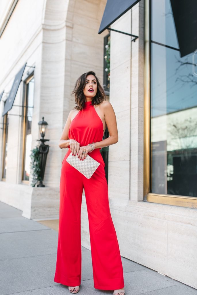 Lulu's REd Jumpsuit with YSL clutch