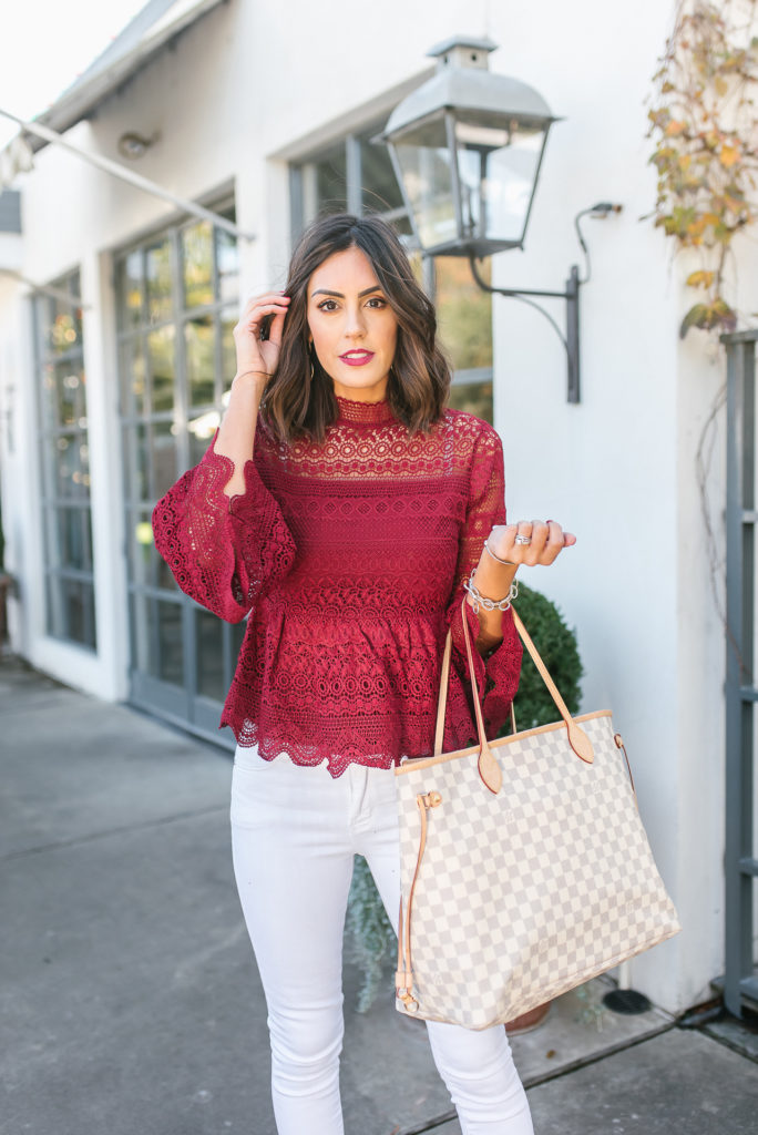 Chicwish crochet peplum top with white jeans and louis viutton bag