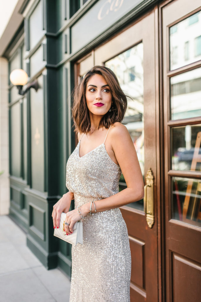 Lulus Sequin Maxi Dress and white YSL Mini Crossbody Bag