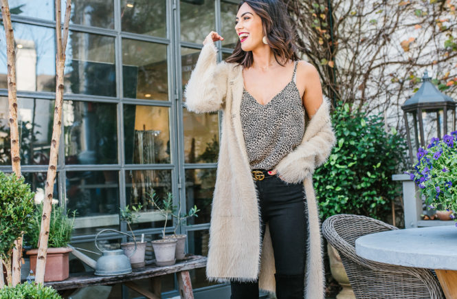 long fuzzy cardigan with leapard cardigan and black over the knee boots