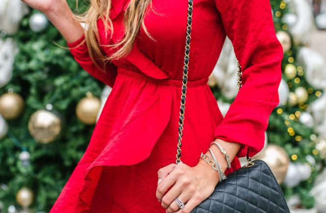 red express ruffle silk mini dress