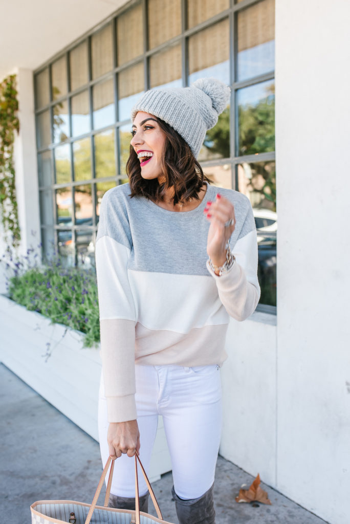97cce658e1e pastel color block sweater with white pants and grey over the knee boots
