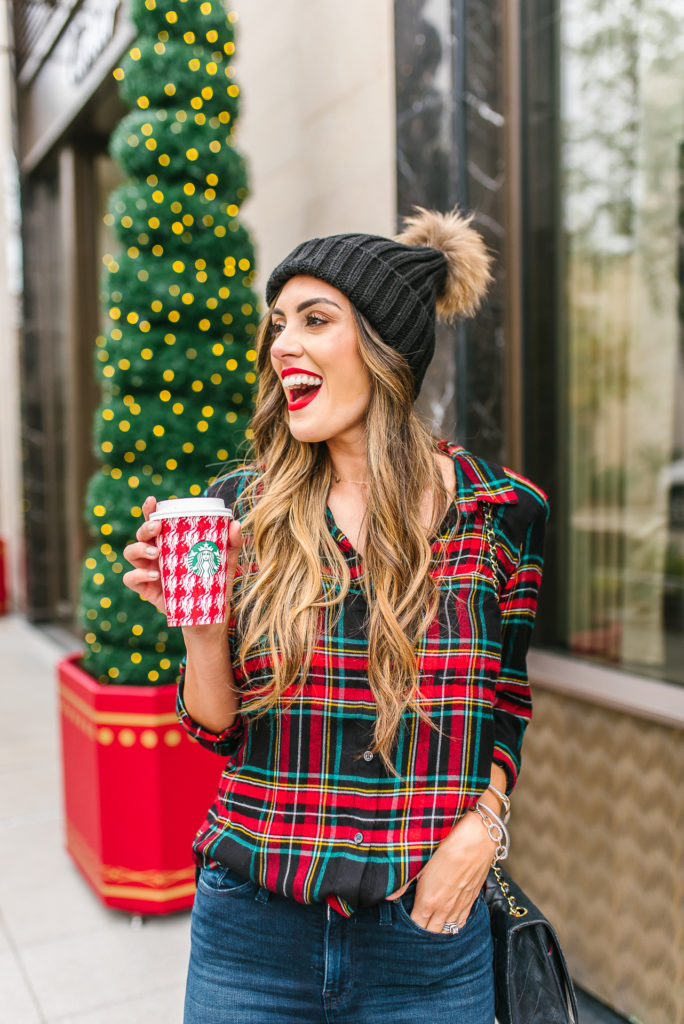 Flannel Button Down with skinny jeans and black over the knee boots